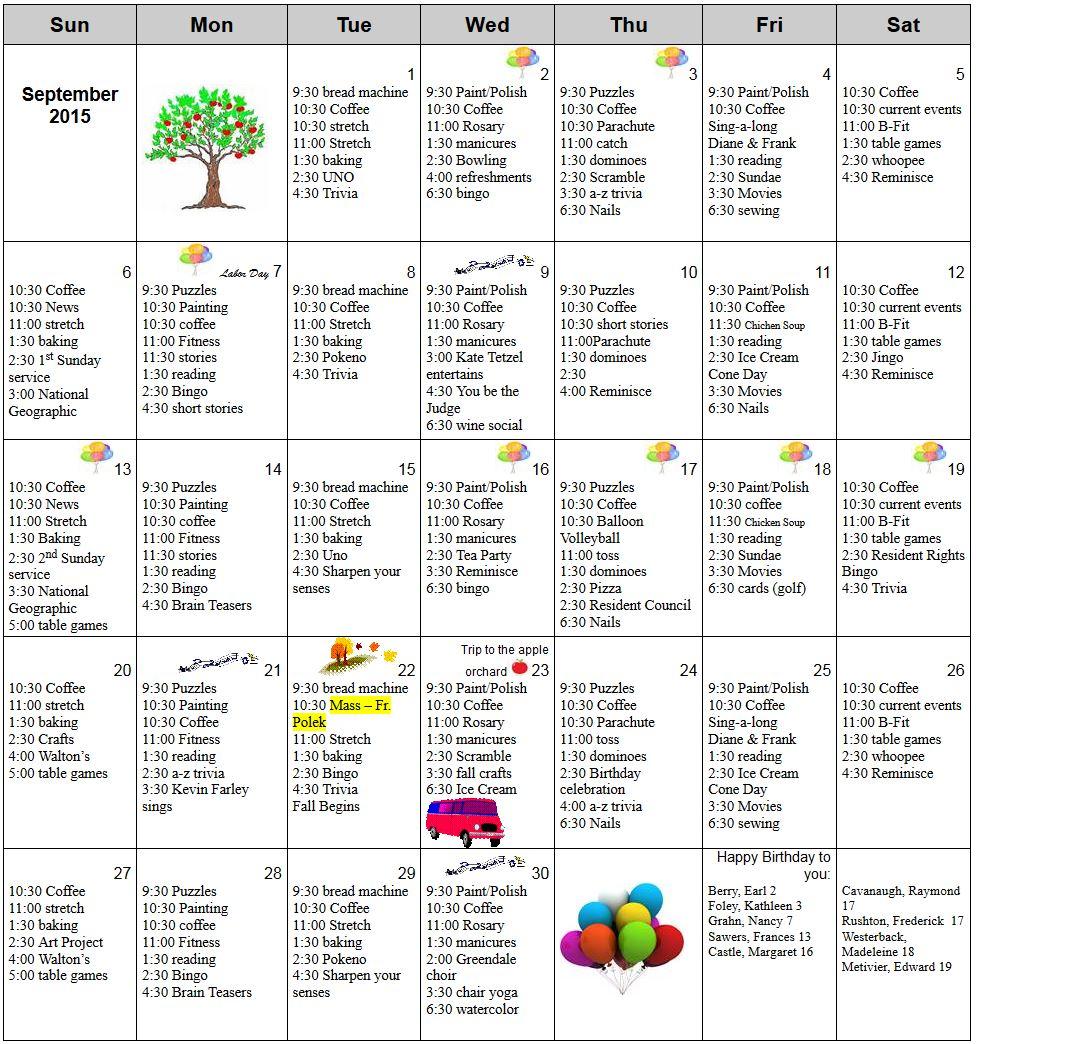 Knollwood September Calendar